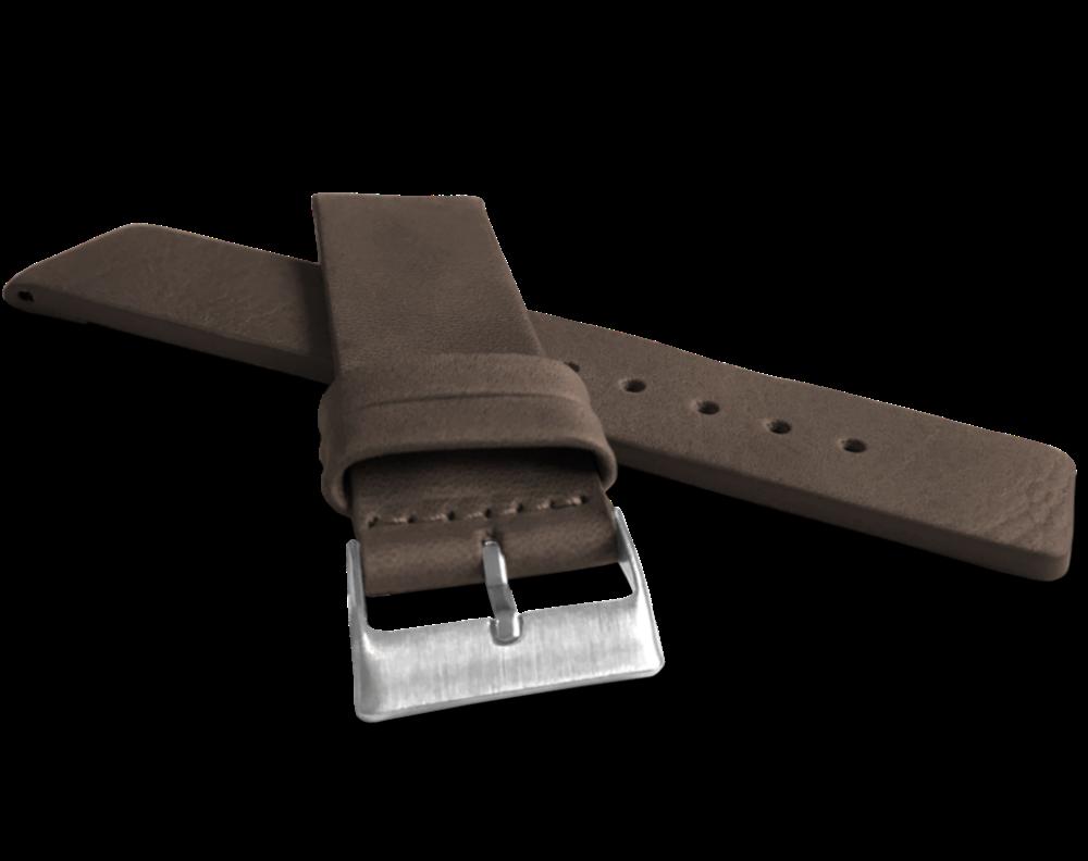 Tmavě hnědý hladký řemínek LAVVU PLAIN z luxusní kůže Top Grain - 24