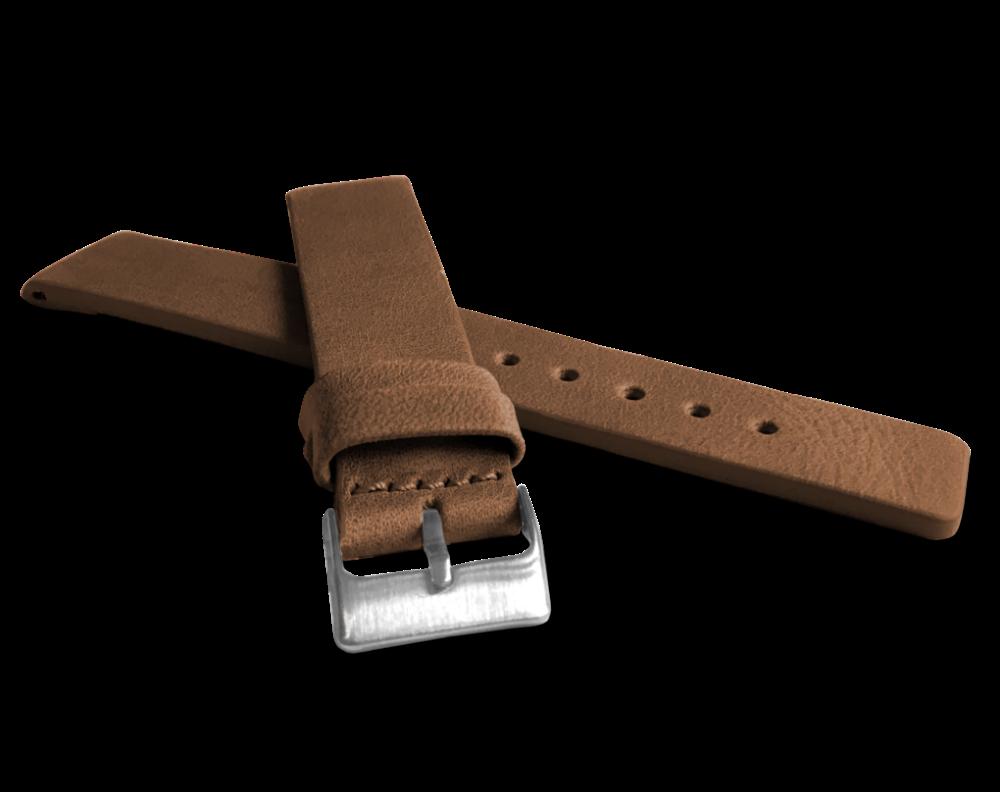 Hnědý hladký řemínek LAVVU PLAIN z luxusní kůže Top Grain - 18