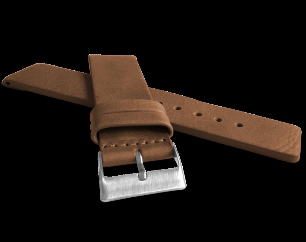 Hnědý hladký řemínek LAVVU PLAIN z luxusní kůže Top Grain - 24