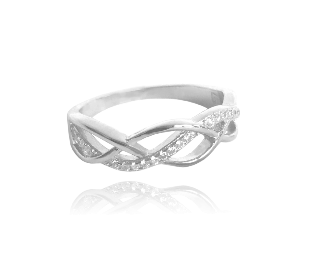 Stříbrný propletený prsten MINET s bílými zirkony vel. 51