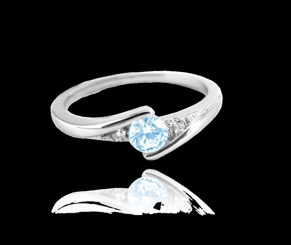 Elegantní stříbrný prsten MINET s modrým zirkonem vel. 55