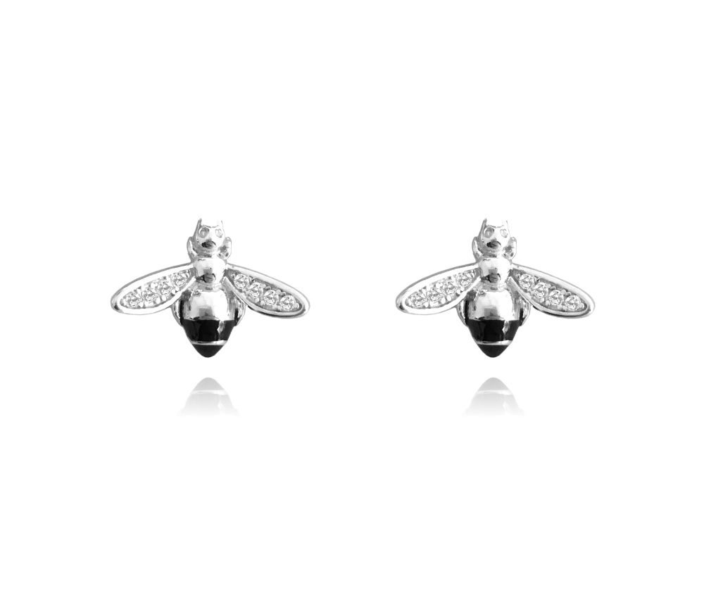 Stříbrné náušnice MINET VČELKY s bílými zirkony