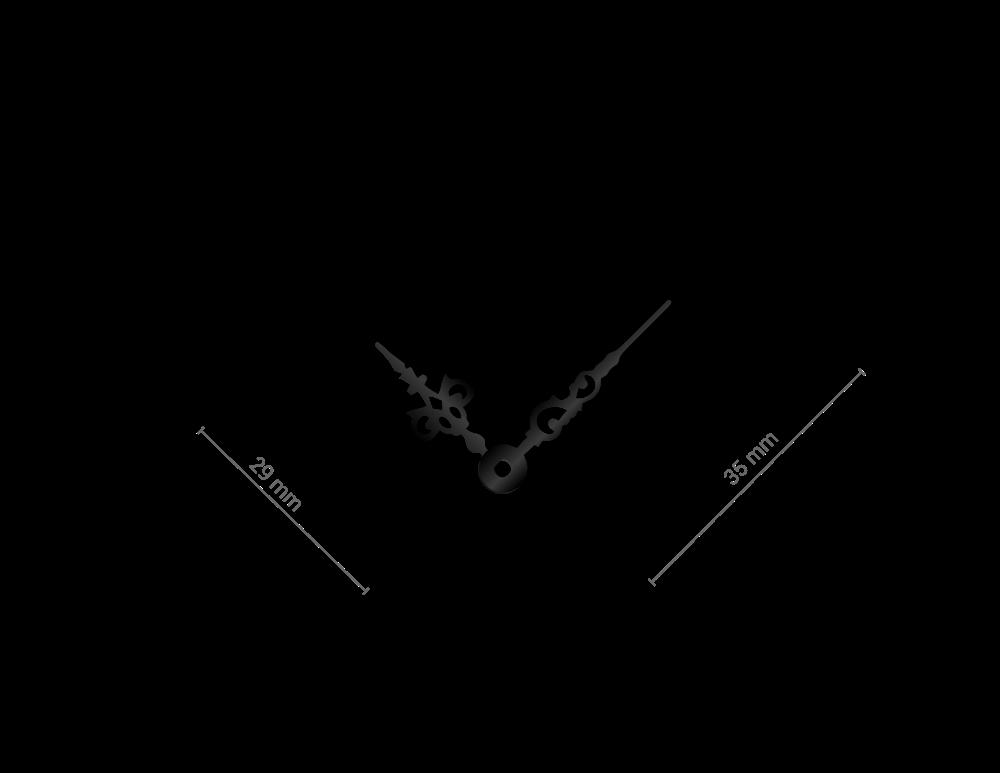 Malé černé hliníkové ručičky na hodiny Antik 30 mm | 24 mm