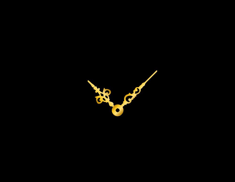 Malé zlaté hliníkové ručičky na hodiny Antik 30 mm | 24 mm