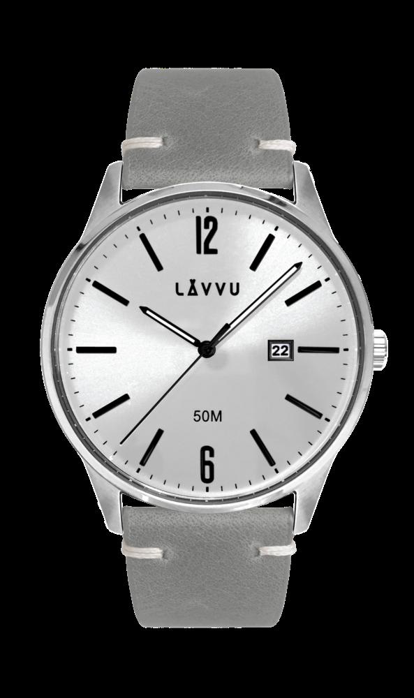 Elegantní pánské hodinky LAVVU KARLSTAD Silver / Top Grain Leather