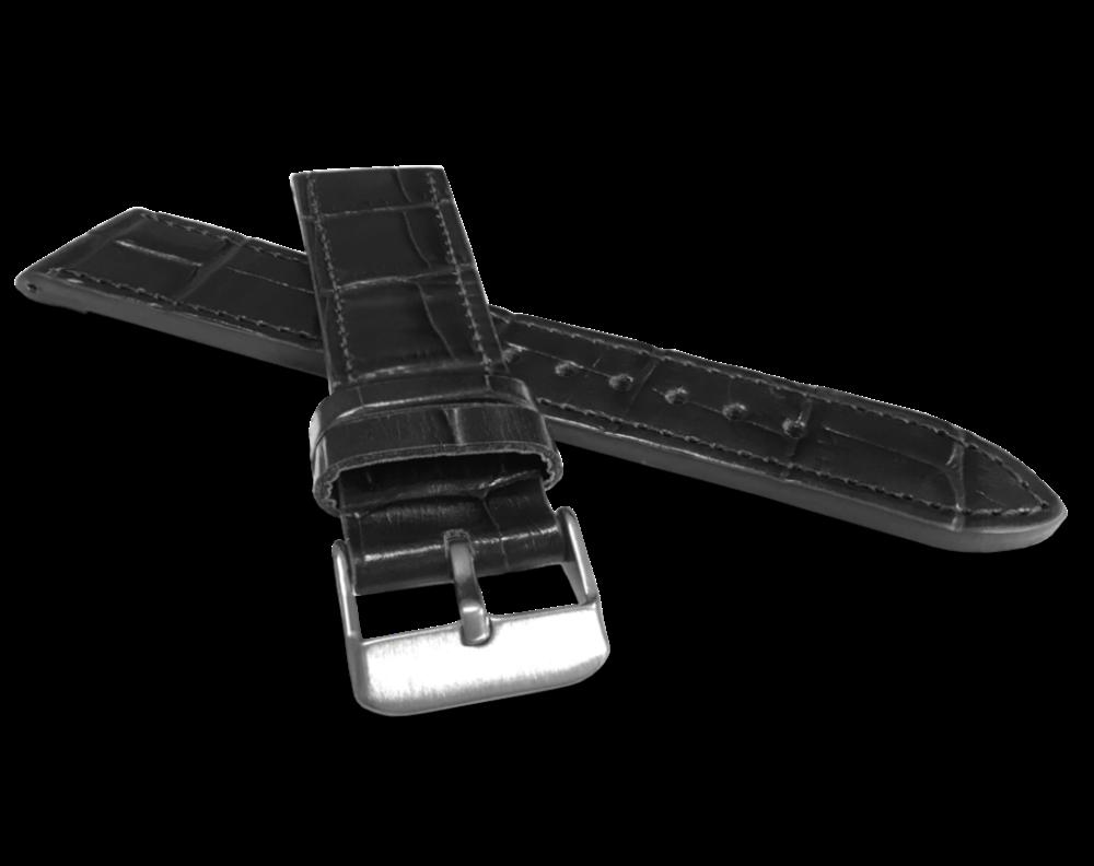Černý prošitý řemínek LAVVU CROCO z luxusní kuže Top Grain - 20