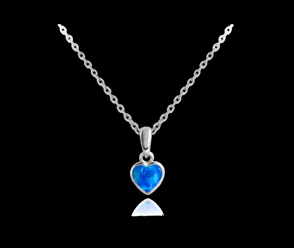 Stříbrný náhrdelník MINET SRDÍČKO s modrým opálkem