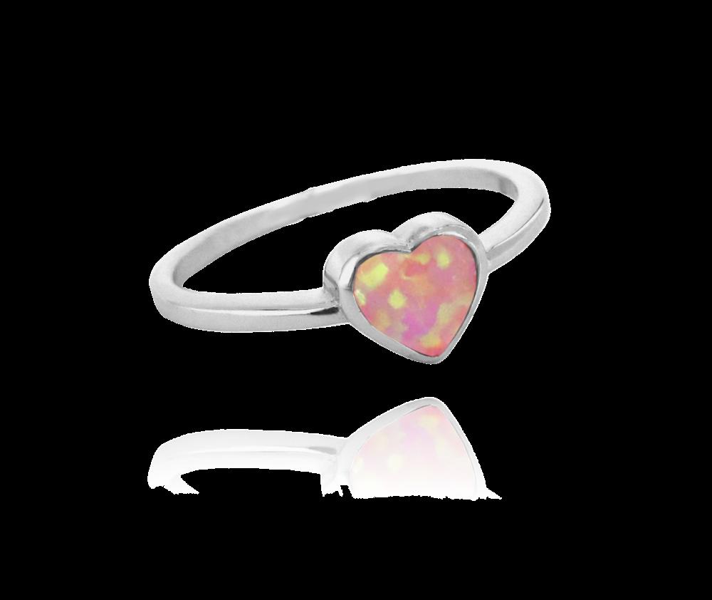Stříbrný prsten MINET SRDÍČKO s růžovým opálkem vel. 54