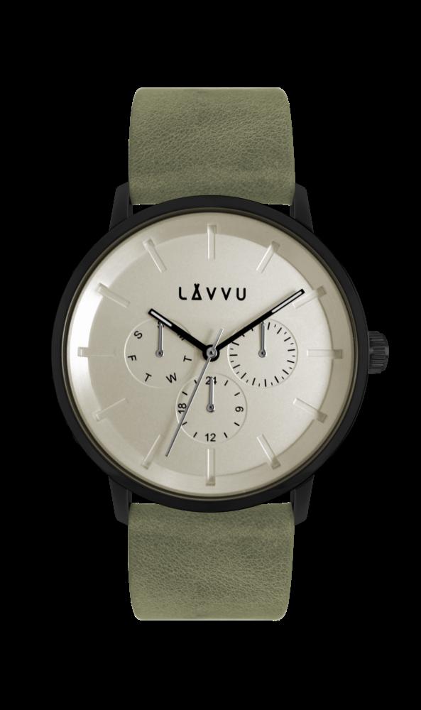 Zelené multifunkční hodinky LAVVU TROMSØ ARMY WHITE