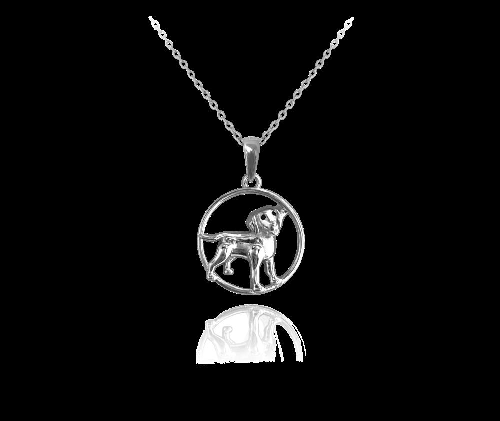 Stříbrný náhrdelník MINET PES v kroužku