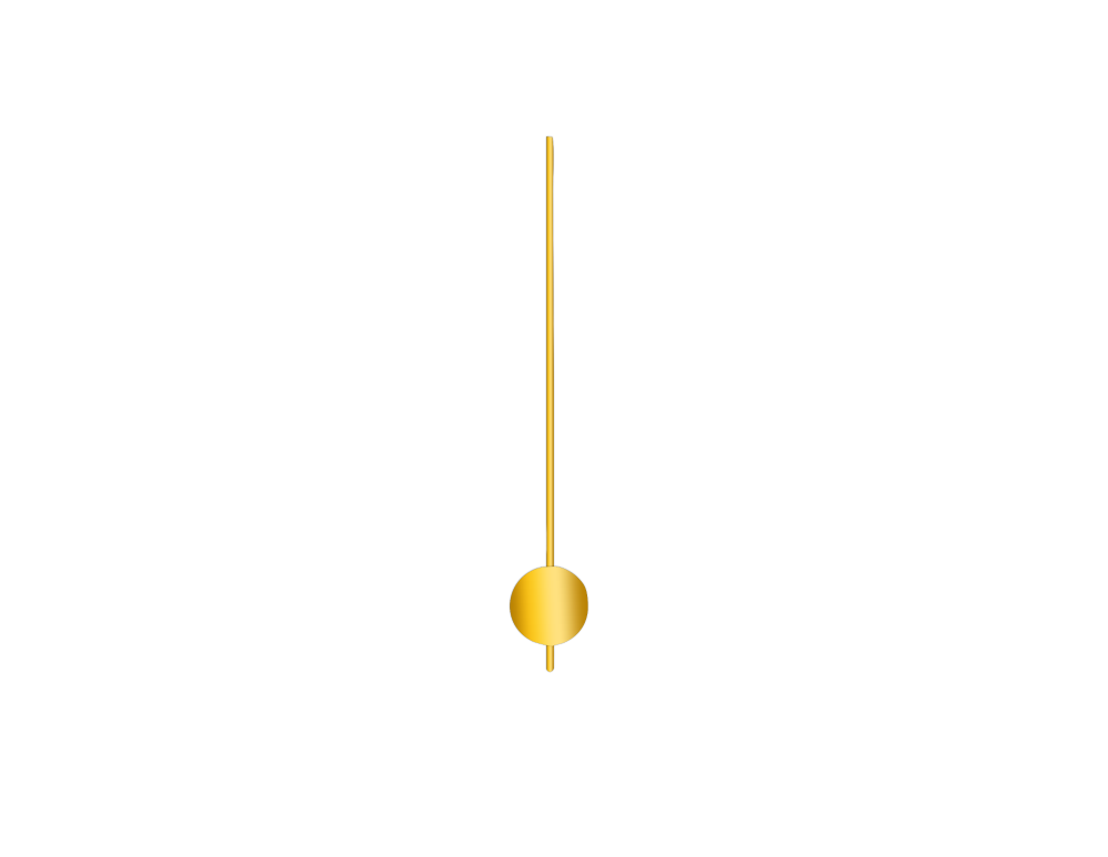 Zlaté kulaté kyvadlo na hodiny 50 mm | 255 mm