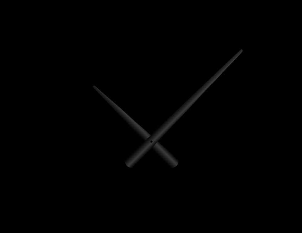 Černé zúžené hliníkové ručičky na hodiny 215 mm   130 mm
