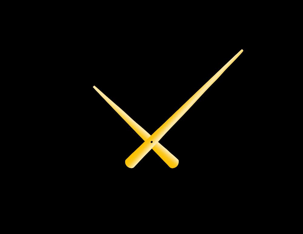 Zlaté zúžené hliníkové ručičky na hodiny 215 mm | 130 mm
