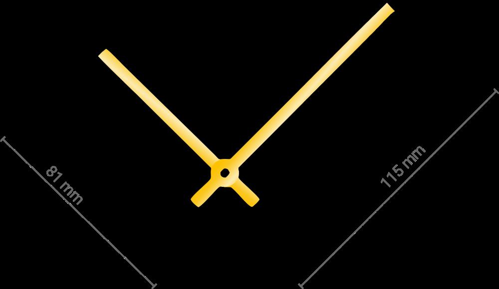 Zlaté rovné hliníkové ručičky na hodiny 90 mm | 65 mm