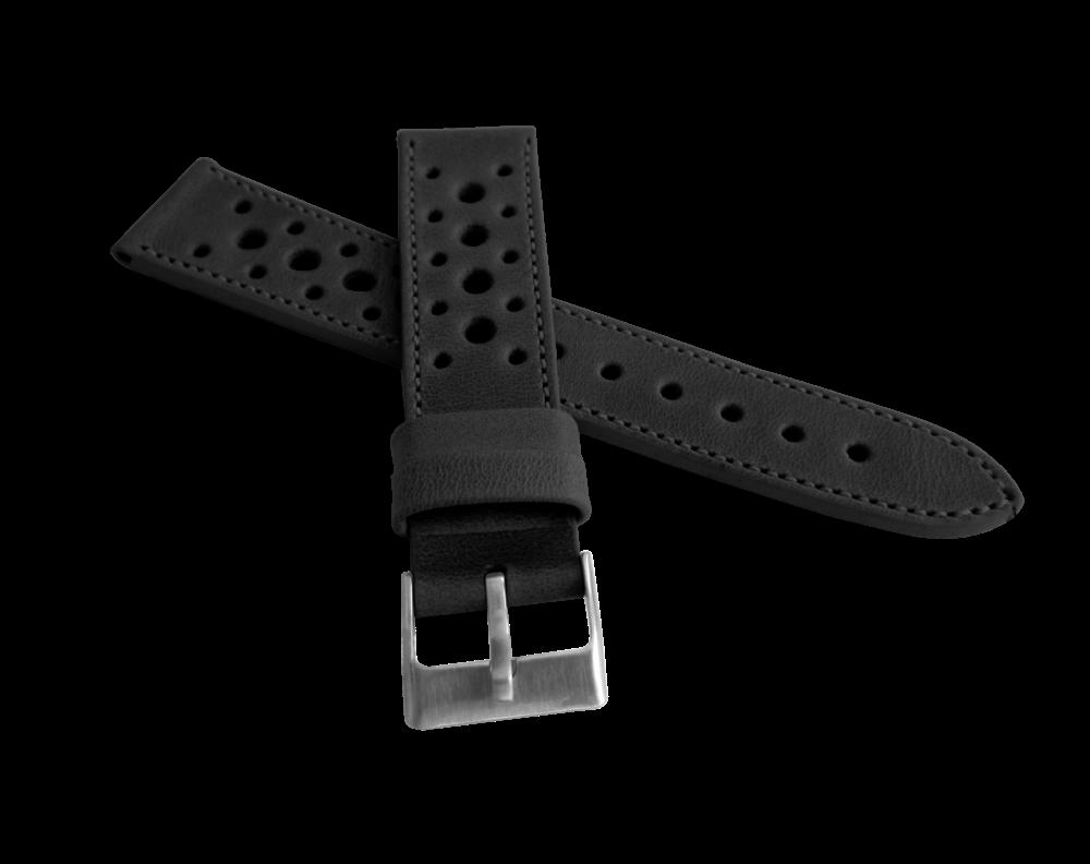 Perforovaný černý prošitý řemínek LAVVU VINTAGE z luxusní kůže Top Grain - 22