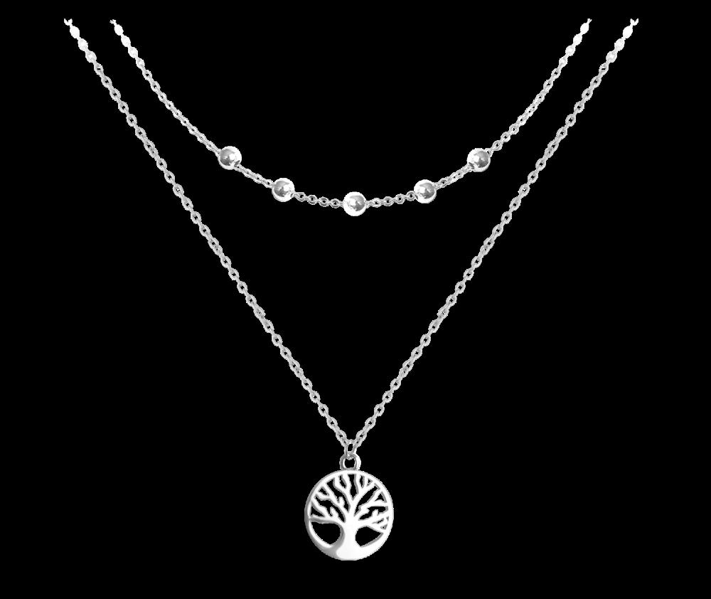 Dvojitý stříbrný náhrdelník MINET STROM ŽIVOTA