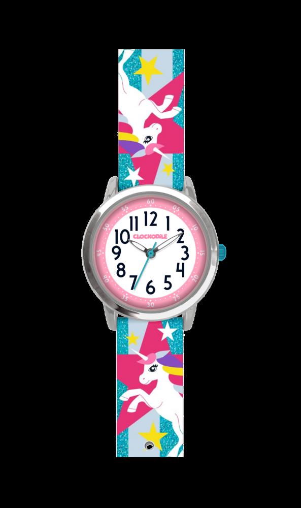 Tyrkysové třpytivé dívčí hodinky s jednorožcem CLOCKODILE UNICORNS