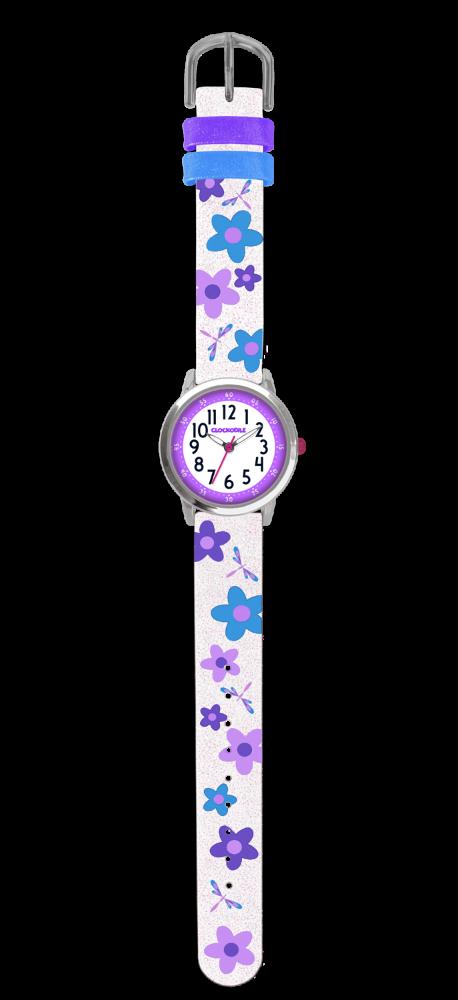 Květované bílo-fialové dívčí hodinky CLOCKODILE FLOWERS se třpytkami