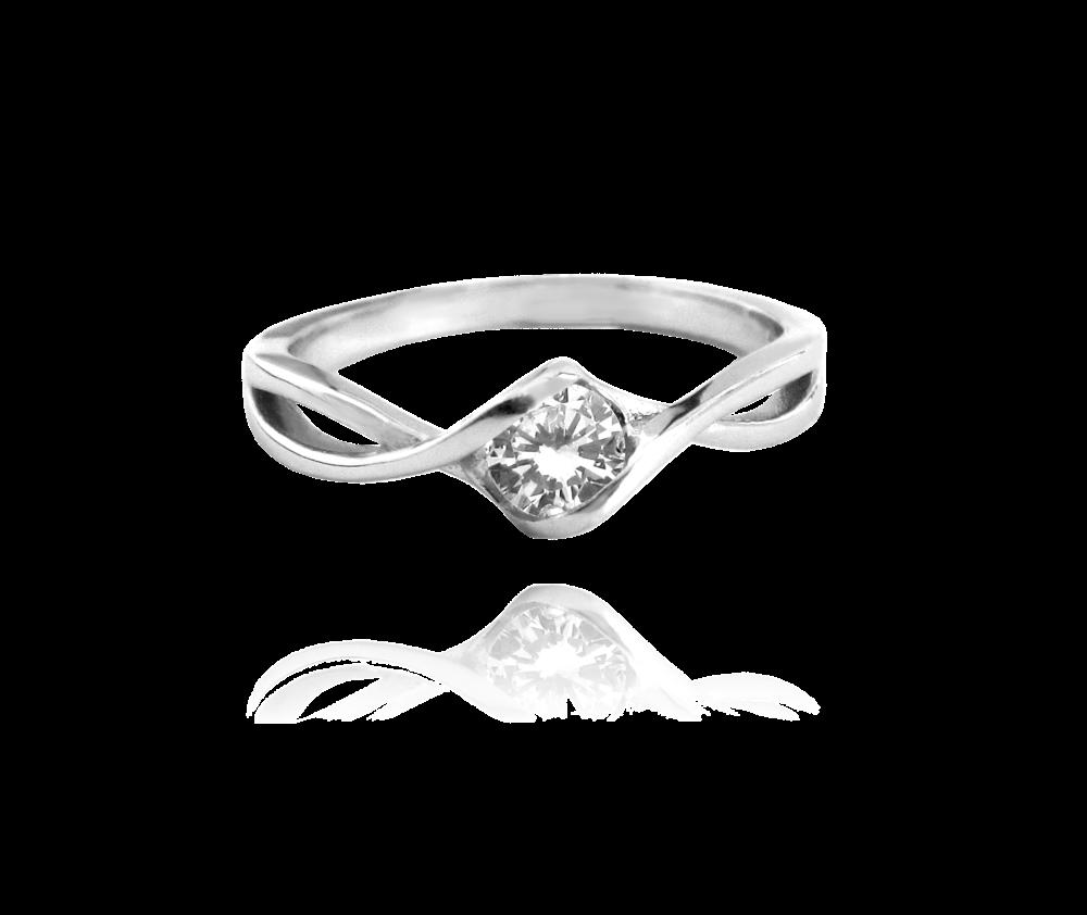 Stříbrný prsten MINET s bílým zirkonem vel. 58