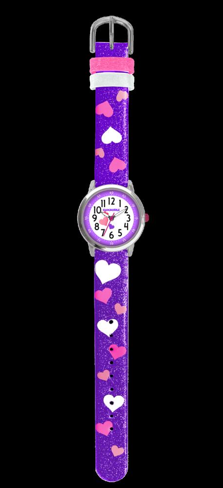 Fialové třpytivé dívčí hodinky se srdíčky CLOCKODILE HEARTS