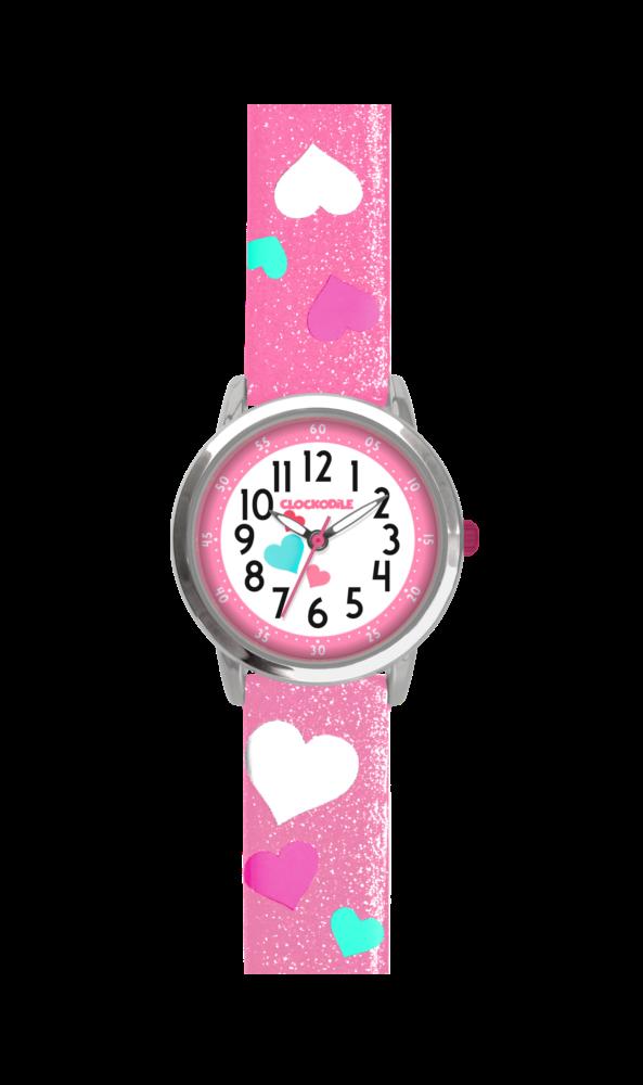 Růžové třpytivé dívčí hodinky se srdíčky CLOCKODILE HEARTS