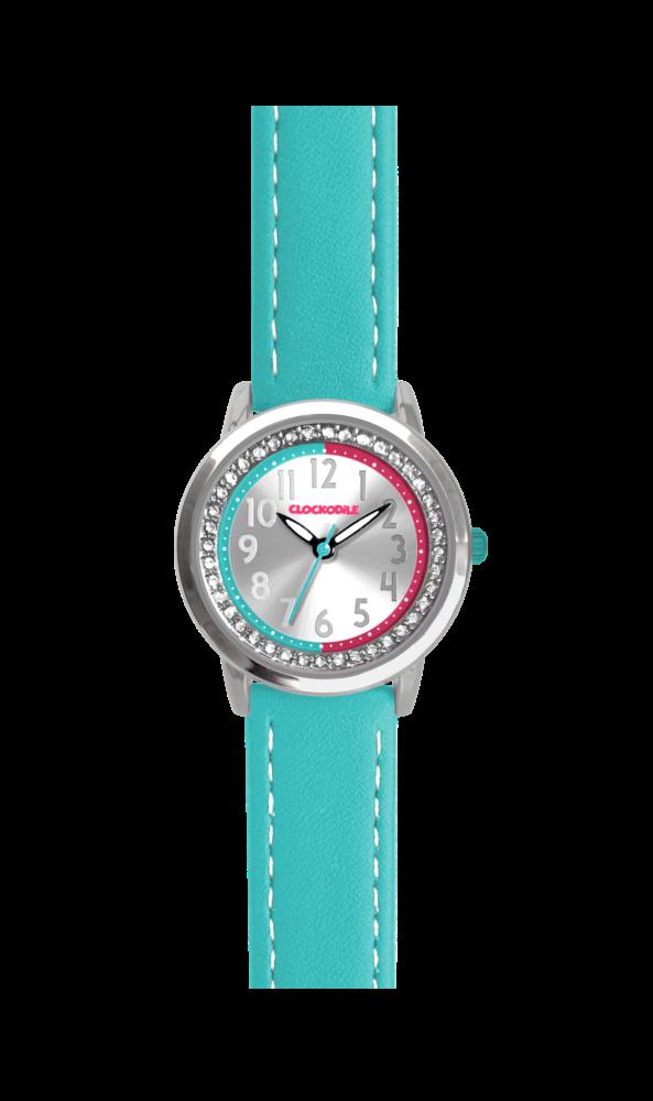 Tyrkysové třpytivé dívčí hodinky se kamínky CLOCKODILE SPARKLE