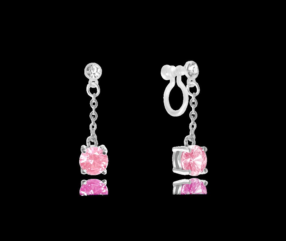 Růžové stříbrné náušnice MINET s neviditelným zapínáním pro uši bez dírek