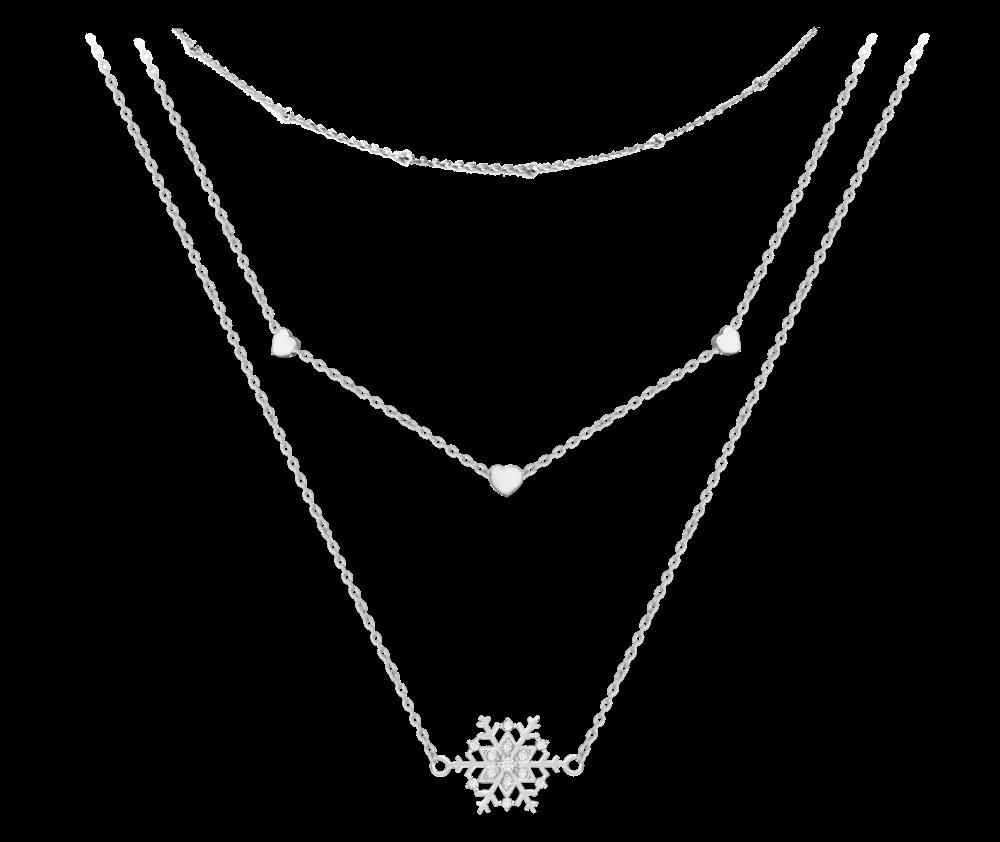 Trojitý stříbrný náhrdelník MINET VLOČKA s bílými zirkony