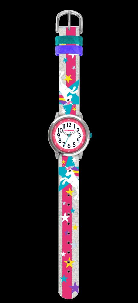 Stříbrné třpytivé dívčí hodinky s jednorožcem CLOCKODILE UNICORNS
