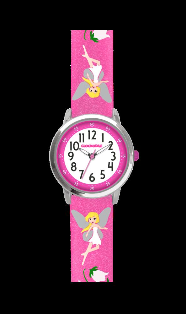 Růžové třpytivé dívčí hodinky s vílami CLOCKODILE FAIRIES