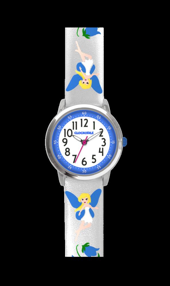 Stříbrné třpytivé dívčí hodinky s modrými vílami CLOCKODILE FAIRIES