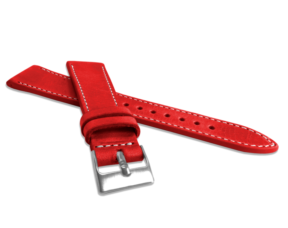 Přírodně barvený červený řemínek LAVVU NATURE z kůže Top Grain - 18