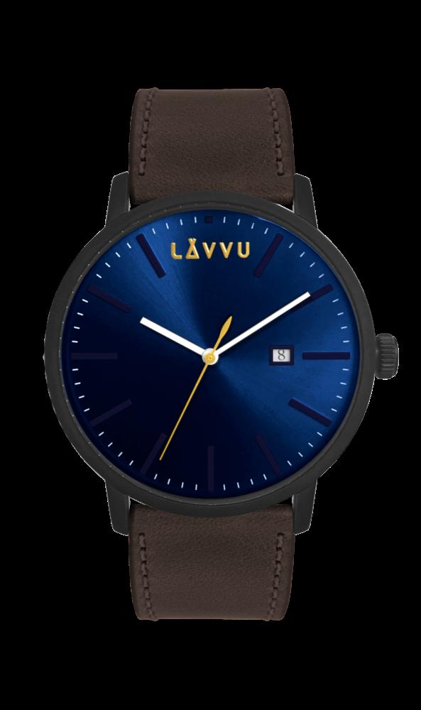 Hnědo-modré pánské hodinky LAVVU COPENHAGEN DARK BROWN