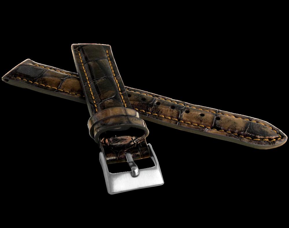 Exkluzivní zlatohnědý řemínek LAVVU CROCO TAVIR z luxusní kůže Top Grain - 22