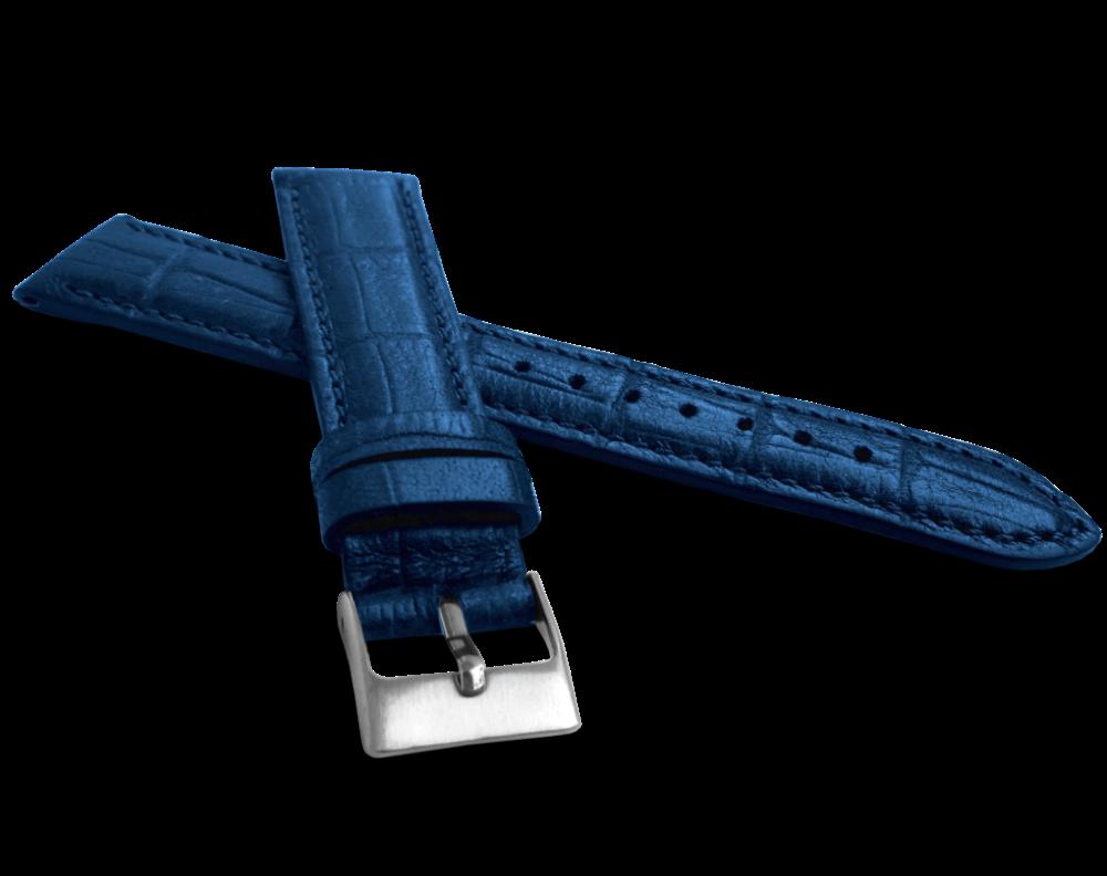 Metalický modrý řemínek LAVVU CROCO METALLIC z luxusní kůže Top Grain - 20