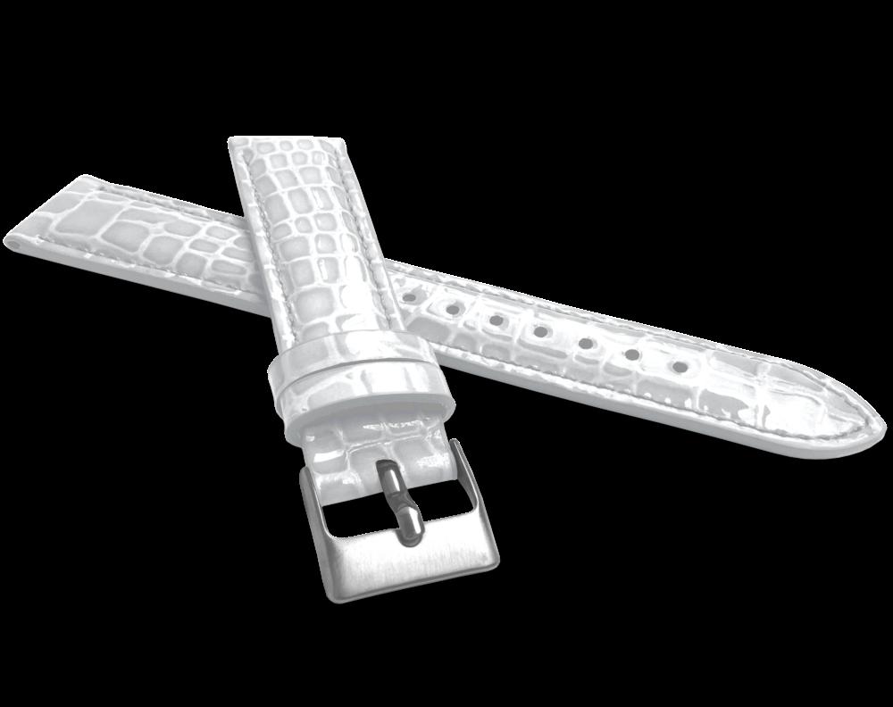 Bílý lesklý kožený řemínek MINET CROCO - 18