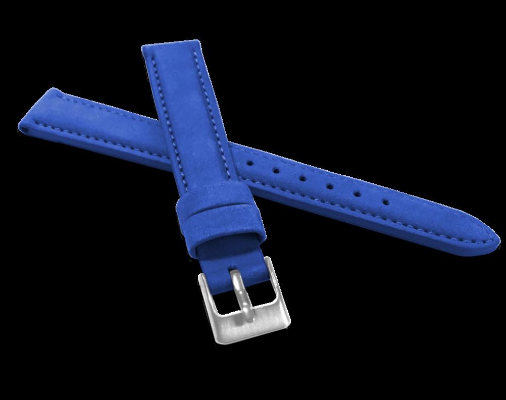 Modrý prošitý kožený řemínek MINET z jemného nubuku - 16