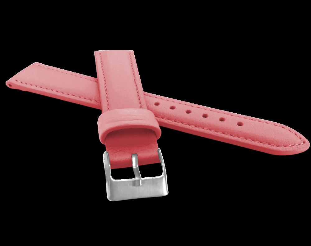 Růžový prošitý řemínek MINET z luxusní kůže Top Grain - 16