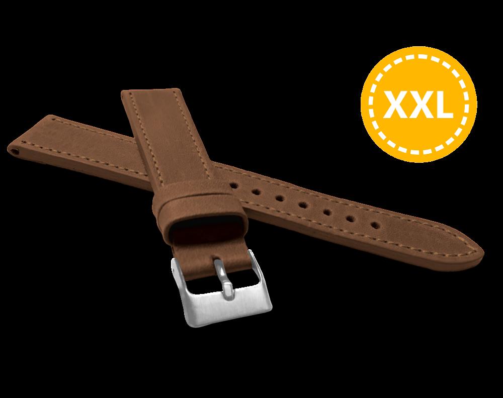 XXL Prodloužený prošitý hnědý řemínek LAVVU SPORT z luxusní kůže Top Grain - 18 XXL