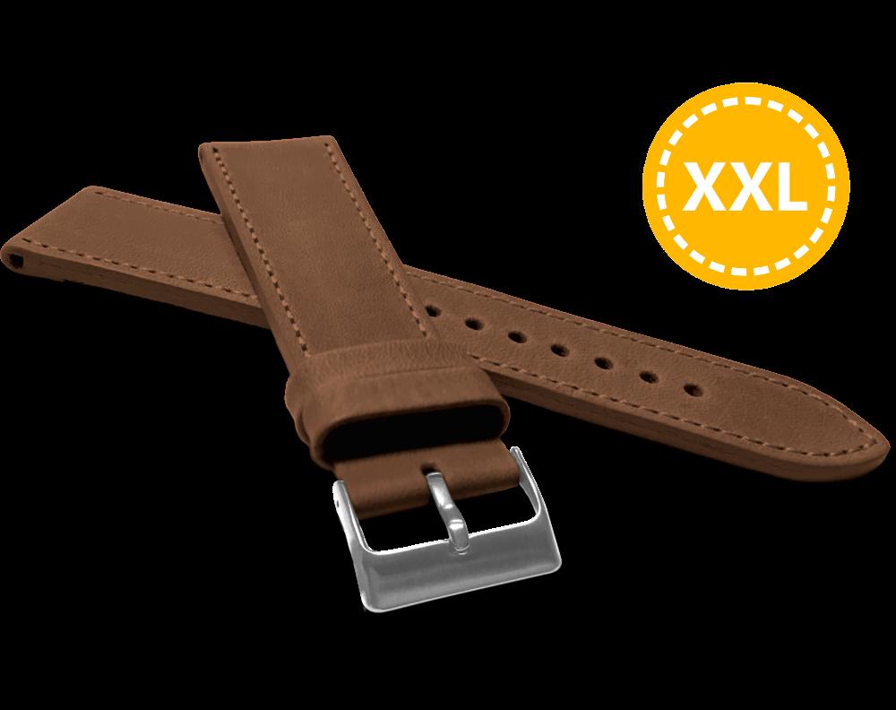 XXL Prodloužený prošitý hnědý řemínek LAVVU SPORT z luxusní kůže Top Grain - 24 XXL
