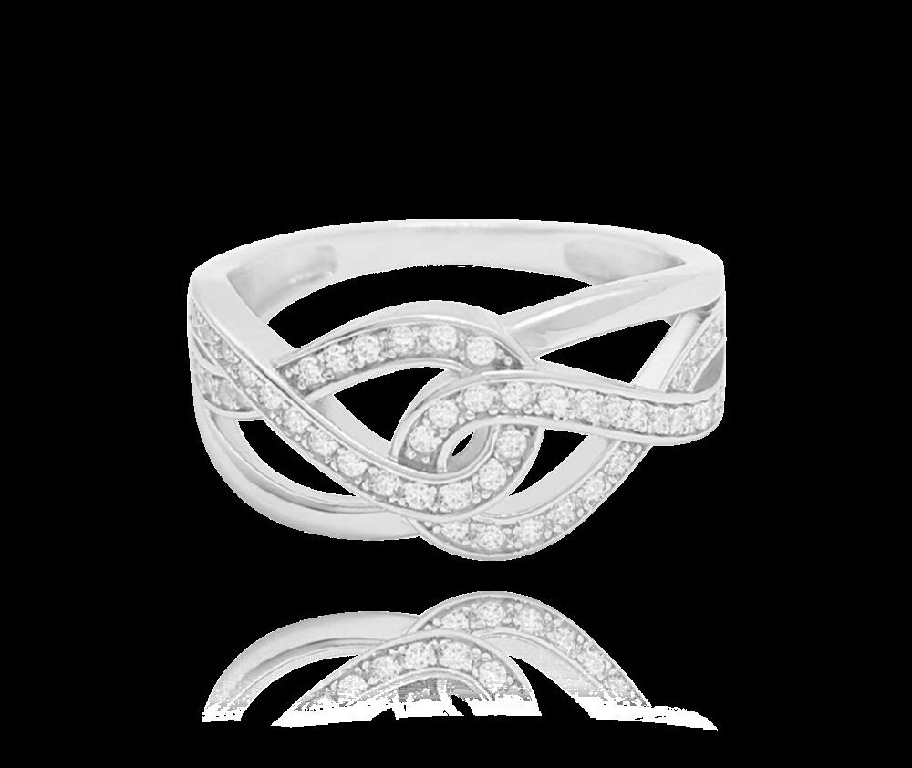 Stříbrný prsten MINET s bílými zirkony vel. 66