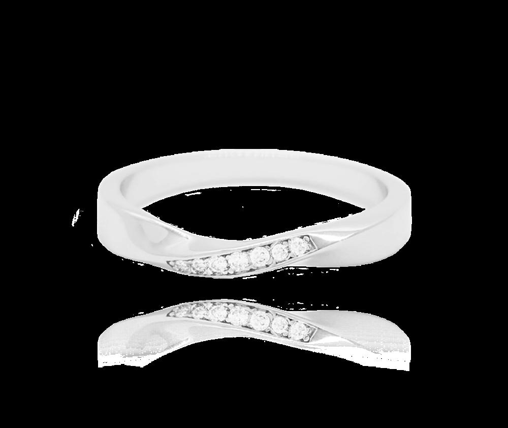 Kroucený stříbrný prsten MINET s bílými zirkony vel. 55