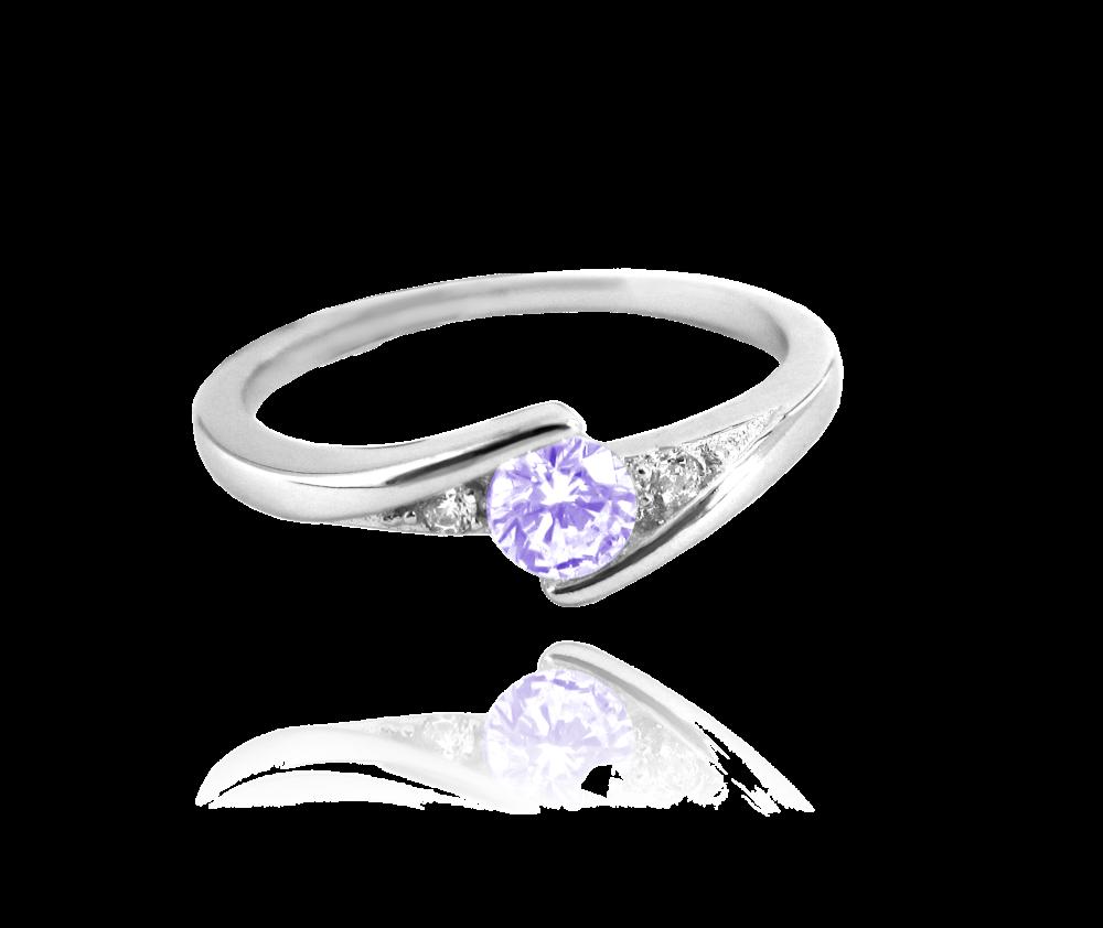 Elegantní stříbrný prsten MINET s fialovým zirkonem vel. 51