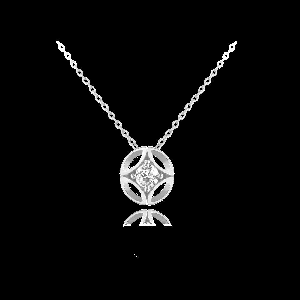 Elegantní stříbrný náhrdelník MINET s bílým zirkonem