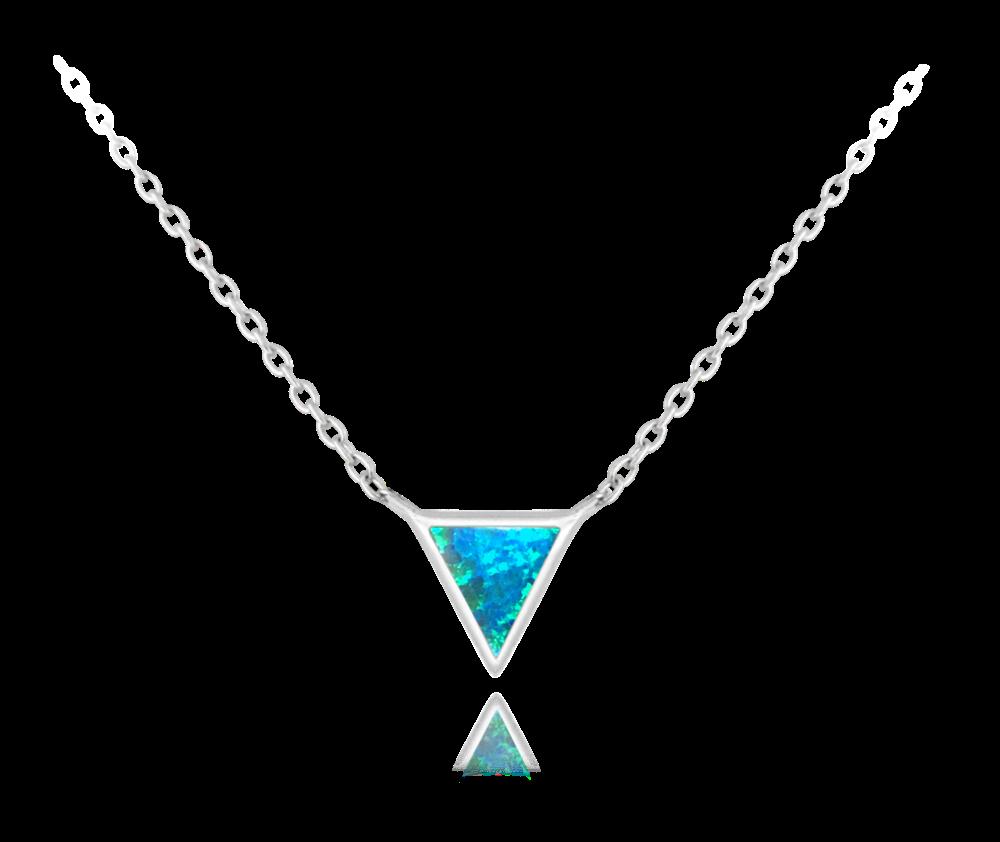 Stříbrný náhrdelník MINET TROJÚHELNÍK s tyrkysovým opálkem