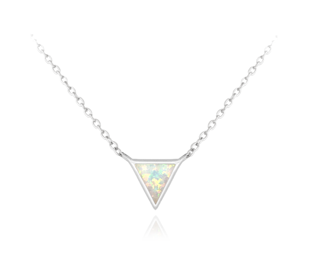 Stříbrný náhrdelník MINET TROJÚHELNÍK s bílým opálkem