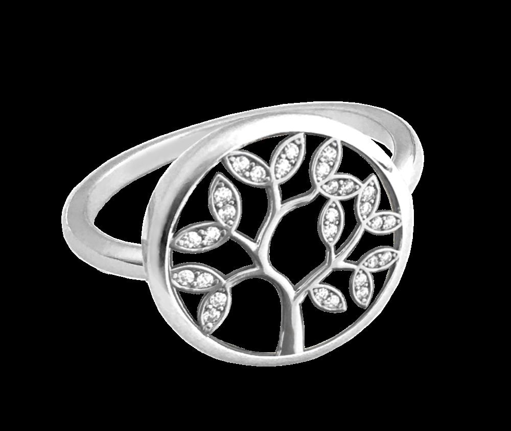 Stříbrný prsten MINET STROM ŽIVOTA s bílými zirkony vel. 58