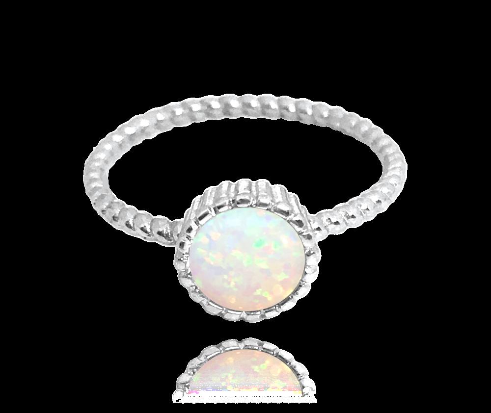 Stříbrný prsten MINET s bílým opálkem vel. 55