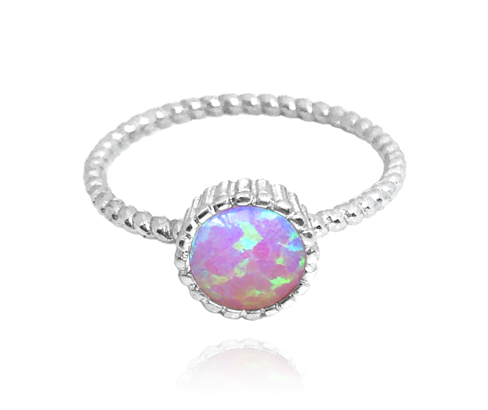 Stříbrný prsten MINET s růžovým opálkem vel. 51