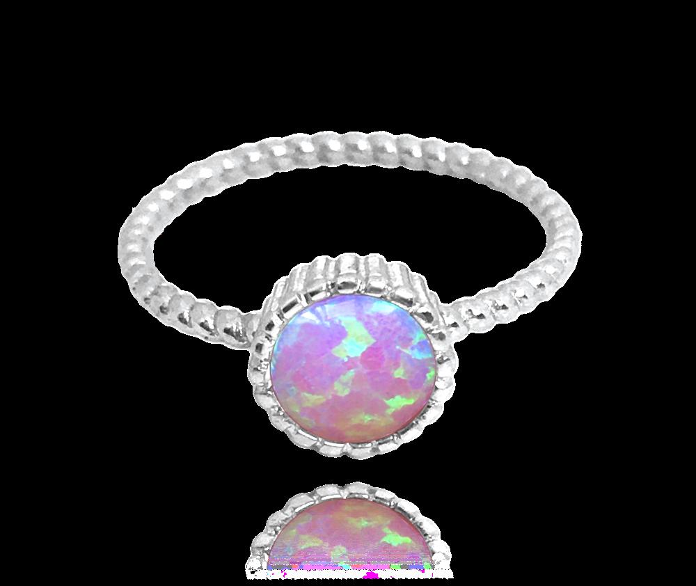 Stříbrný prsten MINET s růžovým opálkem vel. 53